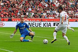 17.09.2011,  BayArena, Leverkusen, GER, 1.FBL, Bayer 04 Leverkusen vs 1. FC Koeln, im Bild.Ammar Jemal (Koeln #3) (R) gegen Bernd Leno (Torwart Leverkusen/Leihe aus Stuttgart)..// during the 1.FBL, Bayer Leverkusen vs 1. FC Köln on 2011/09/17, BayArena, Leverkusen, Germany. EXPA Pictures © 2011, PhotoCredit: EXPA/ nph/  Mueller *** Local Caption ***       ****** out of GER / CRO  / BEL ******