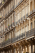 A typical example of the beautiful, iconic Haussmann architecture style of Paris, France