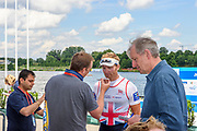 Poznan,  POLAND,  Saturday, 08/08/2020,  Men's Four, GBR M4- Constantine LOULOUDIS, interviewed, right, Hugh MATHERSON, FISA World Cup III, Malta Lake.  FISA World Cup III, Malta Lake.[Mandatory Credit; Peter SPURRIER/Intersport-images]
