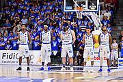 Team Banco di Sardegna Dinamo Sassari, Minuto di silenzio Dino Milia<br /> Banco di Sardegna Dinamo Sassari - AX Armani Exchange Olimpia Milano<br /> LBA Serie A Postemobile 2018-2019 Playoff Semifinale Gara 3<br /> Sassari, 02/06/2019<br /> Foto L.Canu / Ciamillo-Castoria