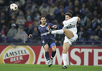 "PORTUGAL - PORTO 23 FEBRUARY 2005: RICARDO QUARESMA #10 and JAVIER ZANETTI #4, in the First Knock-out Round First Leg of the UEFA Champions League, match FC Porto (1) vs FC Internazionale (1), held in ""Dragao"" stadium  23/02/2005  20:54:26<br />