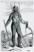 Diving suit designed by August Siebe (1788-1872) German-born British engineer. Engraving c1870.