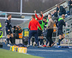 Falkirk's manager Ray McKinnon and bench cele Ciaran McKenna scoring their goal. Falkirk 1 v 1 Dundee United, Scottish Championship game played 23/2/2019 at The Falkirk Stadium.