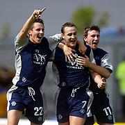 Chesterfield'sSteve payne celebrates the first goal