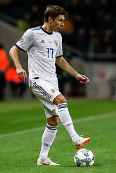 November 20, 2018 - Stockholm, Sweden - Kirill Nababkin of Russia in action during the UEFA Nations League B Group 2 match between Sweden and Russia on November 20, 2018 at Friends Arena in Stockholm, Sweden. (Credit Image: © Mike Kireev/NurPhoto via ZUMA Press)