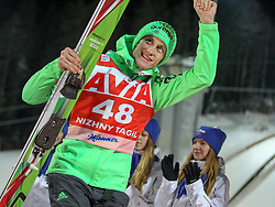 12.12.2015, Nordic Center, Nizhny Tagil, RUS, FIS Weltcup Ski Sprung, Nizhny Tagil, Herren, Siegerehrung, im Bild Peter Prevc (SLO, 2. Platz) // 2nd placed Peter Prevc of Slovenia celebrate on Podium during award winner ceremony of mens Skijumping Competition of FIS Skijumping World Cup at the Nordic Center in Nizhny Tagil, Russia on 2015/12/12. EXPA Pictures © 2015, PhotoCredit: EXPA/ Tadeusz Mieczynski