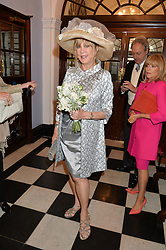 PATTIE BOYD photographed at her wedding at Chelsea Registry Office, Chelsea Old Town Hall, King's Road, London on 30th April 2015. Pattie Boyd was previously married to both George Harrison and Eric Clapton.