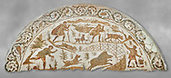 4th century Roman mosaic panel of a boar hunt from Cathage, Tunisia. The Bardo Museum, Tunis, Tunisia. Grey background .<br /> <br /> If you prefer to buy from our ALAMY PHOTO LIBRARY  Collection visit : https://www.alamy.com/portfolio/paul-williams-funkystock/roman-mosaic.html - Type -   Bardo    - into the LOWER SEARCH WITHIN GALLERY box. Refine search by adding background colour, place, museum etc<br /> <br /> Visit our ROMAN MOSAIC PHOTO COLLECTIONS for more photos to download  as wall art prints https://funkystock.photoshelter.com/gallery-collection/Roman-Mosaics-Art-Pictures-Images/C0000LcfNel7FpLI