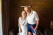 92 year old Tennis player, Henry Young and his wife Madge just before Henry's first match at the National Seniors Tennis Tournament. Shepparton, 17th January 2016 <br /> Cover Photo for The Age newspaper.