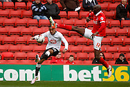 Tom Ince of Derby County (left) has his cross blocked by Alou Diarra of Charlton Athletic (right) Skybet football league championship match, Charlton Athletic v Derby County at The Valley  in London on Saturday 16th April 2016.<br /> pic by Steffan Bowen, Andrew Orchard sports photography.