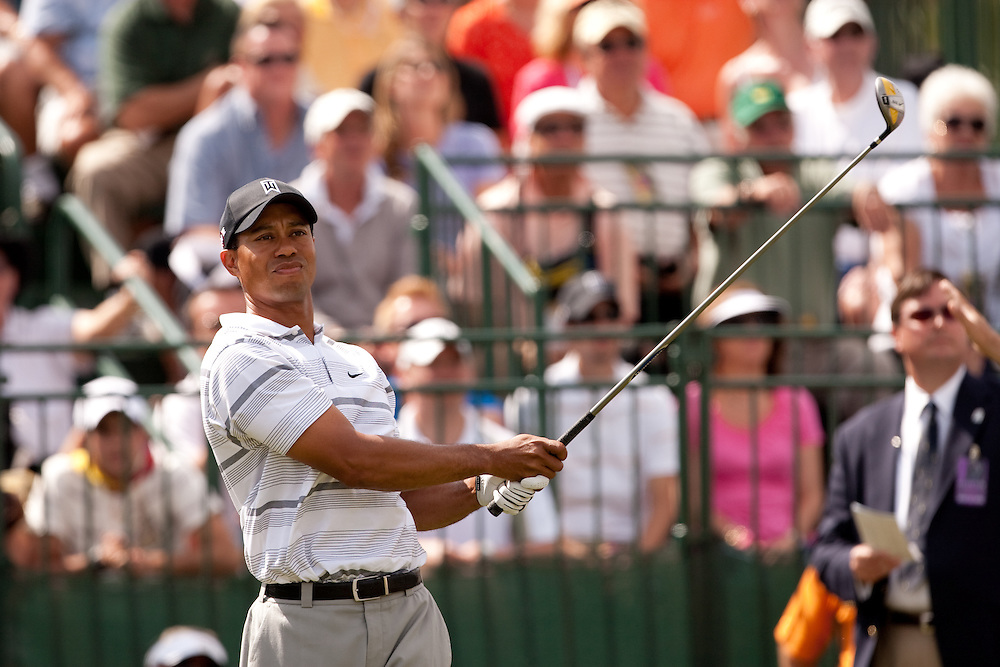 DORAL, FL - MARCH 12:  Tiger Woods watches his tee shot during the first round of the 2009 WGC-CA Championship at Doral Golf Resort and Spa in Doral, Florida on Thursday, March 12, 2009. (Photograph by Darren Carroll) *** Local Caption *** Tiger Woods