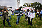 28 SEPTEMBER 2020 - JOHNSTON, IOWA: Supporters of Democratic US Senate candidate Theresa Greenfield at a rally before the US Senate debate at the Iowa PBS studios in Johnston. Both US Senator Joni Ernst, the Republican incumbent, and Theresa Greenfield, the Democratic challenger, had rallies before the debate. Polling puts the race within the margin of error.           PHOTO BY JACK KURTZ