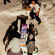 Team Hostel X practicing during evening hours at the Hostel in Teton Village, Wyoming.