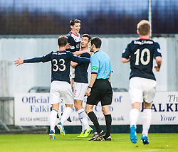 Falkirk's Conor McGrandles celebrates with team mates after scoring their second goal.<br /> Falkirk 3 v 1 Raith Rovers, Scottish Championship game at The Falkirk Stadium.