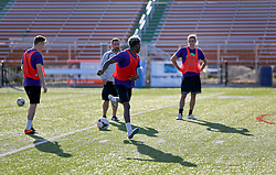 06 May 2016. New Orleans, Louisiana.<br /> New Orleans Jesters. Early morning training session for the NPSL team as they prepare for the opening game of the season at Pan American Stadium.<br /> Photo; Charlie Varley/varleypix.com