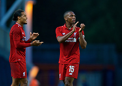 BLACKBURN, ENGLAND - Thursday, July 19, 2018: Liverpool's Daniel Sturridge (right) applauds the travelling supporters after a preseason friendly match between Blackburn Rovers FC and Liverpool FC at Ewood Park. Liverpool won 2-0. (Pic by Paul Greenwood/Propaganda)