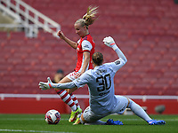 Football - 2021 / 2022 Women's Super League - Arsenal vs Chelsea - Emirates Stadium - Sunday 5th September 2021<br /> <br /> Arsenal Women's Beth Mead goes around Chelsea FC Women's Ann-Katrin Berger to score her sides third goal.<br /> <br /> COLORSPORT/Ashley Western