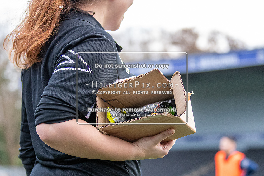 BROMLEY, UK - DECEMBER 07: Ally Maloney, Physio of Cray Wanderers FC, holds a box full of energy gels before<br />  the BetVictor Isthmian Premier League match between Cray Wanderers and Potters Bar Town at Hayes Lane on December 7, 2019 in Bromley, UK. <br /> (Photo: Jon Hilliger)