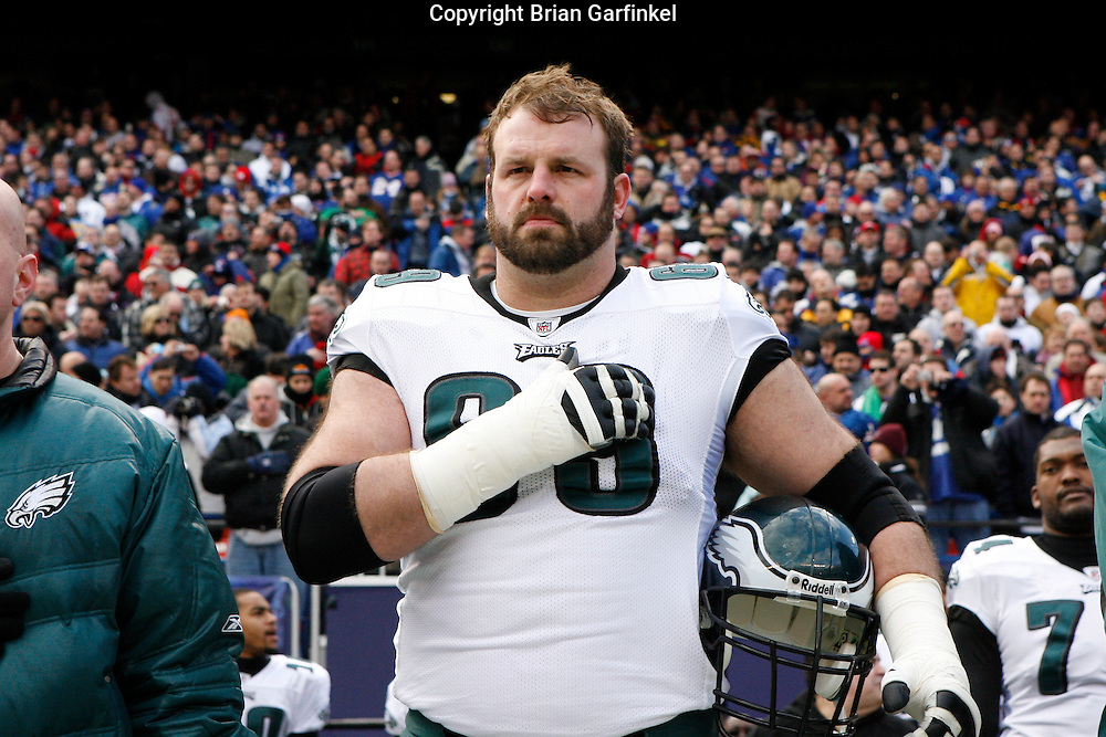 11 Jan 2009: Philadelphia Eagles offensive tackle Jon Runyan #69 during the National Anthem before the game against the New York Giants on January 11th, 2009.  The  Eagles won 23-11 at Giants Stadium in East Rutherford, New Jersey.