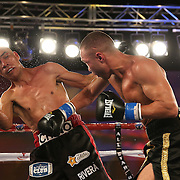 Sergei Lipinets (R) punches Cosme Rivera during a Telemundo Boxeo boxing match at the A La Carte Pavilion on Friday,  March 13, 2015 in Tampa, Florida. (AP Photo/Alex Menendez)