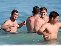 3 June 2013; Rob Kearney, left, and Owen Farrell, British & Irish Lions, during a recovery session ahead of their game against Western Force on Wednesday. British & Irish Lions Tour 2013, Recovery Session, City Beach, Perth, Australia. Picture credit: Stephen McCarthy / SPORTSFILE