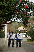 School boys coming from school in Nova Sintra. Capeverdian students wear uniform so that the rich and the poor look the same.
