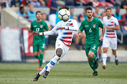 May 28, 2018 - Chester, PA, U.S. - CHESTER, PA - MAY 28: United States midfielder Tim Weah (11) shoots the ball during the international friendly match between the United States and Bolivia at the Talen Energy Stadium on May 28, 2018 in Chester, Pennsylvania. (Photo by Robin Alam/Icon Sportswire) (Credit Image: © Robin Alam/Icon SMI via ZUMA Press)