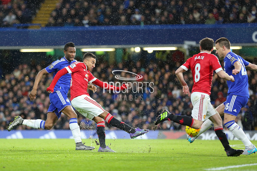 Jesse Lingard of Manchester United shoots at goal during the Barclays Premier League match between Chelsea and Manchester United at Stamford Bridge, London, England on 7 February 2016. Photo by Phil Duncan.