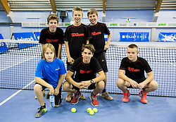 Ball boys at Tennis exhibition day and Slovenian Tennis personality of the year 2013 annual awards presented by Slovene Tennis Association TZS, on December 21, 2013 in BTC City, TC Millenium, Ljubljana, Slovenia.  Photo by Vid Ponikvar / Sportida