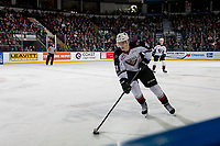 KELOWNA, CANADA - MARCH 16: Evan Patrician #39 of the Vancouver Giants skates with the puck against the Kelowna Rockets on March 16, 2019 at Prospera Place in Kelowna, British Columbia, Canada.  (Photo by Marissa Baecker/Shoot the Breeze)