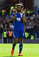 Ryan Shotton of Birmingham Claps off the fans.  EFL Skybet championship match, Aston Villa v Birmingham city at Villa Park in Birmingham, The Midlands on Sunday 23rd April 2017.<br /> pic by Bradley Collyer, Andrew Orchard sports photography.
