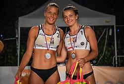 Female 2nd Tajda Lovsin and Nina Lovsin  on Beach volley National Championship of Slovenia  on July 20, 2019 in Kranj, Slovenia. Photo by Urban Meglic / Sportida