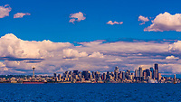 Panoramic view of the Seattle skyline from Puget Sound, with the Space Needle on the left, Seattle, Washington USA.