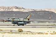"""Israeli Air Force (IAF) General Dynamics F-16I at take off.  Photographed at the  """"Blue-Flag"""" 2017, an international aerial training exercise hosted by the Israeli Air Force (IAF) at Ouvda airfield, Israel. November 2017"""