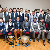 The Cooraclare 2015 Minor Football County Champions with the All Ireland Winning Dublin Manager Jim Gavin and the Clare Football Captain, Gary Brennan