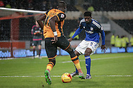 Bruno Ecuele Manga (Cardiff City) stands in the way of Mohamed Diamé (Hull City) during the Sky Bet Championship match between Hull City and Cardiff City at the KC Stadium, Kingston upon Hull, England on 13 January 2016. Photo by Mark P Doherty.