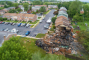 Aerial view of homes destroyed in a blast following a confrontation with a code enforcement officer in Eagleville, Pennsylvania.
