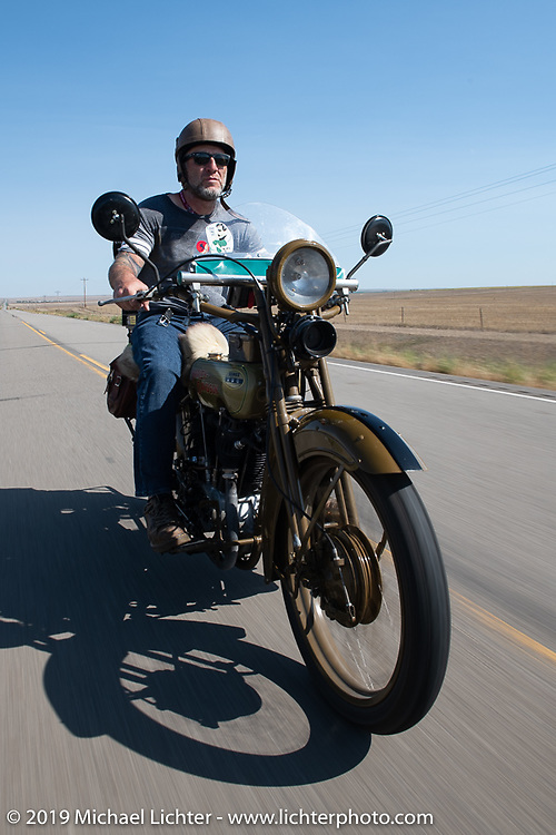Tom Banks rode his 1921 Harley-Davidson JD in the Motorcycle Cannonball coast to coast vintage run. Stage 8 (314 miles) from Spirit Lake, IA to Pierre, SD. Saturday September 15, 2018. Photography ©2018 Michael Lichter.