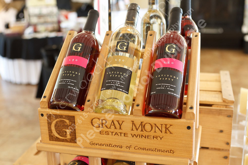 Gray Monk is a popular tourist destination in Winfield, which is on Lake Okanagan north of Kelowna.  They offer a great tour of the estate and facilities including the bottling operation. Tasting of their popular wines is a fine end to the tour...©2011, Sean Phillips.http://www.RiverwoodPhotography.com