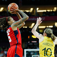 09 August 2012: USA Seimone Augustus takes a jumpshot over Australia Kristi Harrower during 86-73 Team USA victory over Team Australia, during the women's basketball semi-finals, at the 02 Arena, in London, Great Britain.