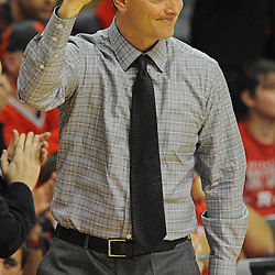 Rutgers Scarlet Knights head coach Mike Rice celebrates his teams victory during Big East NCAA action during Rutgers' 65-58 victory over Notre Dame at the Louis Brown Athletic Center in Piscataway, N.J.