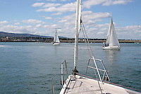 Sailing in Dun Laoghaire harbour in Dublin Ireland
