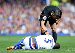 Referee Andrew Marriner checks on Kurt Zouma of Chelsea - Mandatory byline: Matt McNulty/JMP - 07966386802 - 12/09/2015 - FOOTBALL - Goodison Park -Everton,England - Everton v Chelsea - Barclays Premier League