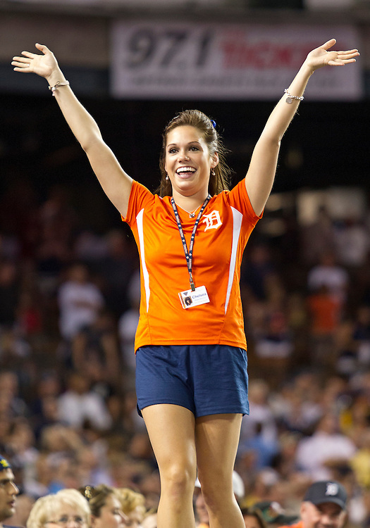 August 08, 2012:  Tiger Energy Squad member Chelsea Estes performs during MLB game action between the New York Yankees and the Detroit Tigers at Comerica Park in Detroit, Michigan.  The Yankees defeated the Tigers 12-8.