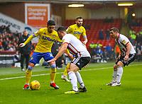Leeds United's Pablo Hernandez takes on Sheffield United's Enda Stevens<br /> <br /> Photographer Alex Dodd/CameraSport<br /> <br /> The EFL Sky Bet Championship - Sheffield United v Leeds United - Saturday 1st December 2018 - Bramall Lane - Sheffield<br /> <br /> World Copyright © 2018 CameraSport. All rights reserved. 43 Linden Ave. Countesthorpe. Leicester. England. LE8 5PG - Tel: +44 (0) 116 277 4147 - admin@camerasport.com - www.camerasport.com