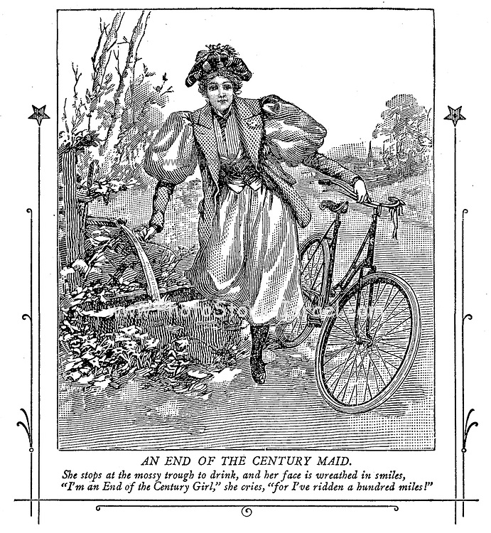 End of the 19th Century free spirited woman on a bike from On the road to health and happiness by Charles A. Vogeler Company [Advertising] Publication date 1897 [Next thing you she will want to vote]