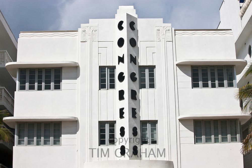 Congress Hotel art deco architecture on Ocean Drive, South Beach, Miami, Florida, United States of America