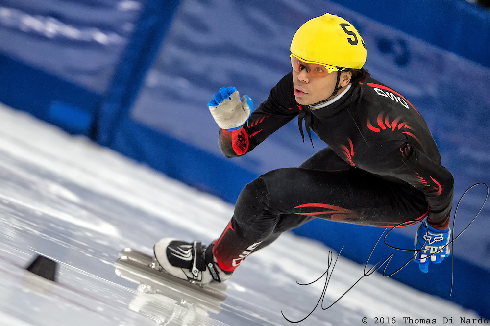 March 19, 2016 - Verona, WI - Richard Anglin, skater number 55 competes in US Speedskating Short Track Age Group Nationals and AmCup Final held at the Verona Ice Arena.