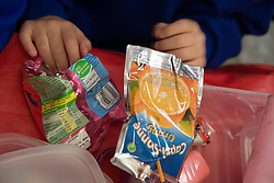 Food packets from school child's lunch box,