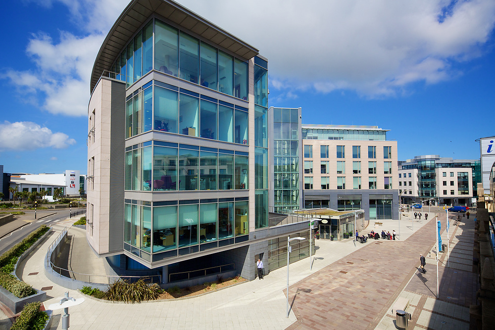 Corporate offices, cafe and commercial buildings at Liberty Wharf in St Helier, Jersey